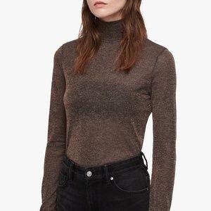 All Saints Esme Roll Turtleneck Shimmer Shirt Top